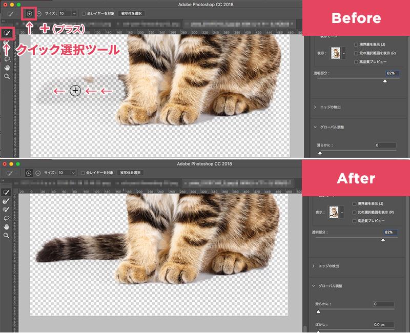 「クイック選択ツール」の「+」で調整の画像